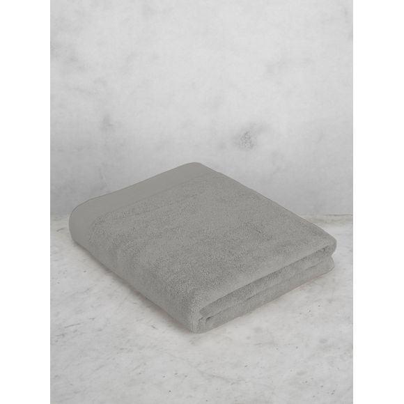 Serviette de bain en coton éponge cendre 100x150cm