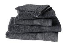 Achat en ligne Lot de 4 serviettes + 2 gants éponges uni gris anthracite