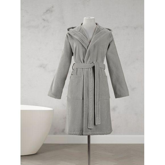 85fe51c30e8e94 MAOM - Peignoir femme en coton éponge cendre Taille M Pas cher - Zôdio