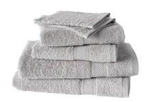 Achat en ligne Lot de 4 serviettes + 2 gants éponges uni gris clair