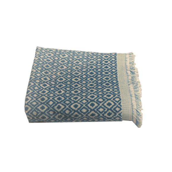 acquista online Asciugamano doccia in cotone jacquard fantasia blu 70x140
