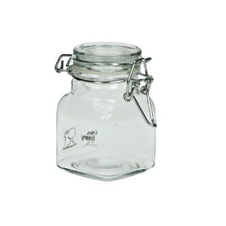 Bocal carré en verre transparent