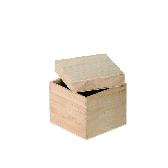 Scatola di legno da decorare cubo 12x12x12cm