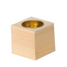 Achat en ligne Bougeoir carré en bois 6x6cm