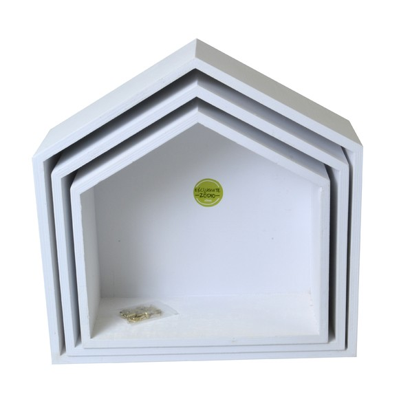 Achat en ligne Set de 3 étagères maisons blanches 24 à 30cm