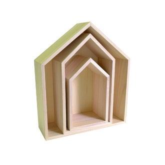 Set de 3 étagères maisons fines en bois brut 22 à 35cm