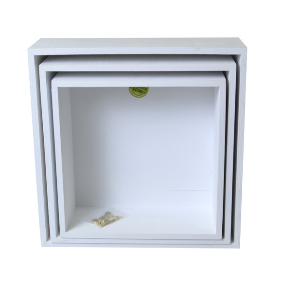Achat en ligne Set de 3 étagères cubes blanc 24 à 30cm