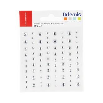 ARTEMIO - Set de 80 pierres argentées différentes tailles