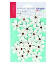 Achat en ligne Set de 18 fleurs blanches avec perles pour embellissement
