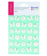 Achat en ligne 30 papillons blancs pailletés pour embellissement