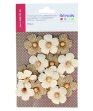 Achat en ligne Set de 15 fleurs en toile avec perles pour embellissement