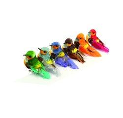 Achat en ligne Set 6 oiseaux miniatures en plume couleurs assorties 7x4,5cm