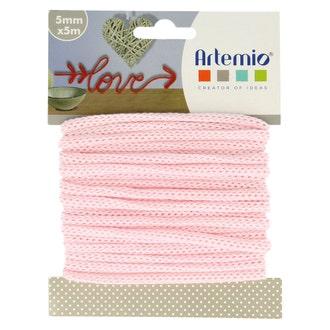 Fil tricotin polyester rose pastel 5mmx5m
