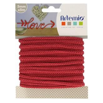 ARTEMIO - Fil tricotin polyester rouge 5mmx5m