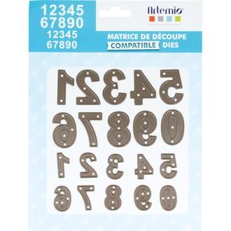 ARTEMIO - Lot de matrice de découpe dies chiffres petit et grand 23,33 mm