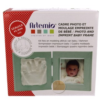ARTEMIO - Kit de moulage empreinte de bébé avec cadre photo 12,5x12,5cm