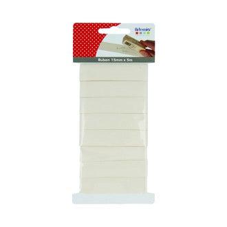 ARTEMIO Ruban de coton blanc 15mmx5m