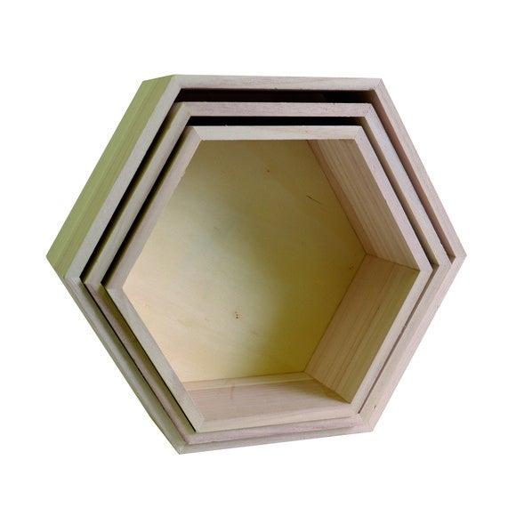 Set di 3 mensole esagonali in legno da 24 a 30cm