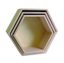 Achat en ligne Set de 3 étagères héxagonales en bois brut 24 à 30cm