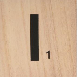 Lettre I scrabble en bois 10x10x0,6cm