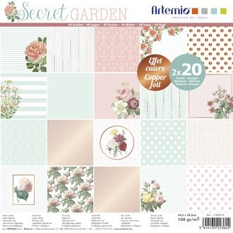 ARTEMIO - Set 40 Papiers - Secret Garden - 30x30