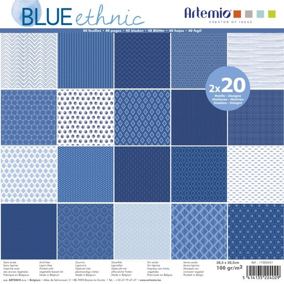 Set 40 Papiers Blue Ethnic 30x30