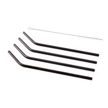 Achat en ligne 4 pailles courbées inox noir avec goupillon 20,5cm