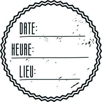 ARTEMIO - Tampon bois rond Invitation Date-heure