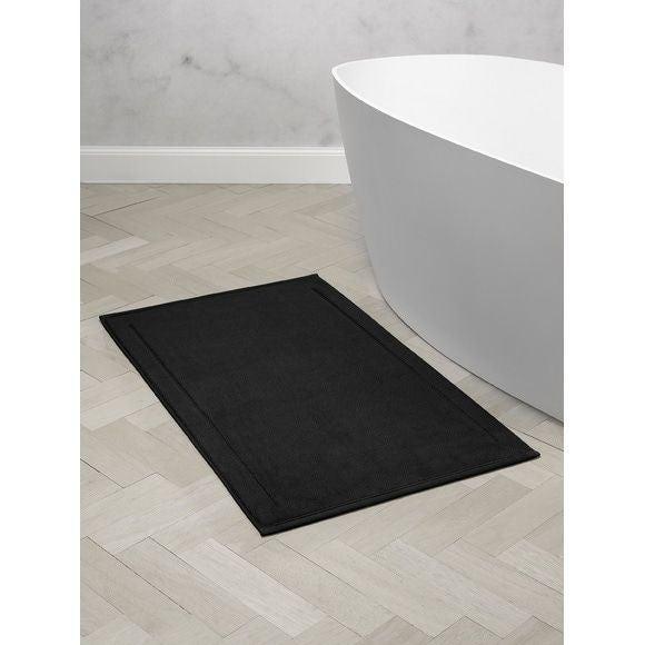 Tappeto da bagno rettangolare in spugna di cotone nero 60x100