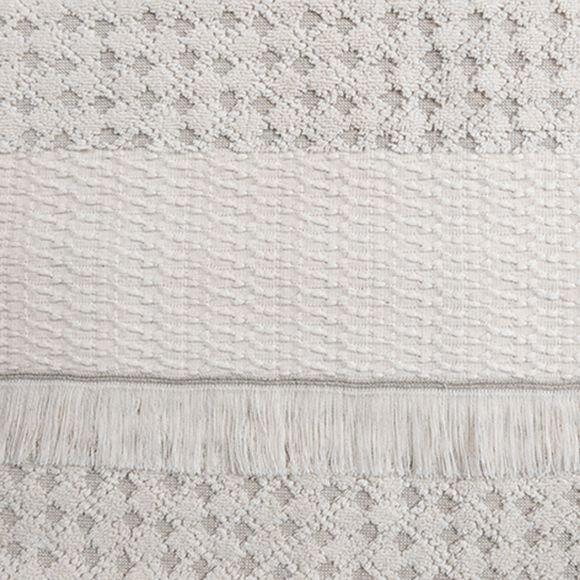 Asciugamano viso a frange beige Jacquard 50x100cm
