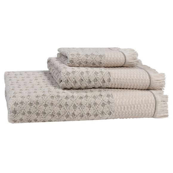 Asciugamano doccia a frange beige Jacquard 70x140cm