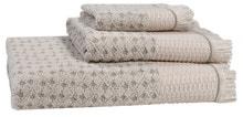 Achat en ligne Serviette de douche 70x140cm coton jacquard à frange taupe