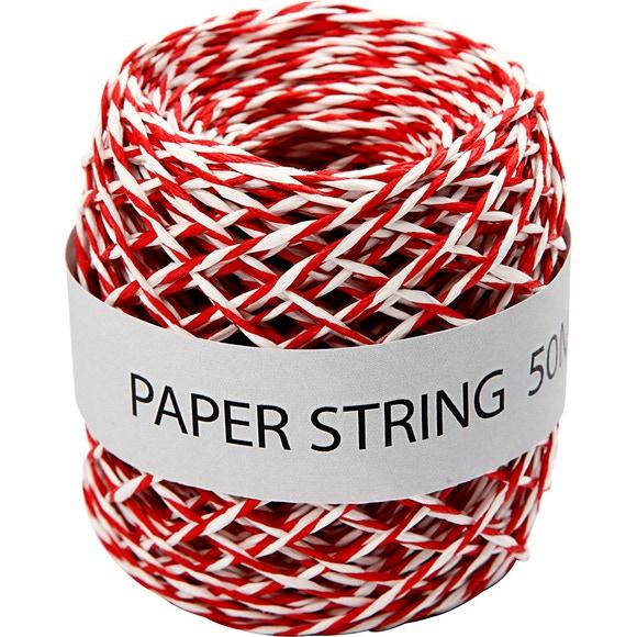 Achat en ligne Ficelle de papier rouge et blanc 50m