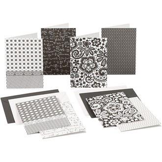 Set de 8 cartes et 8 enveloppes noir et blanc 105x150mm