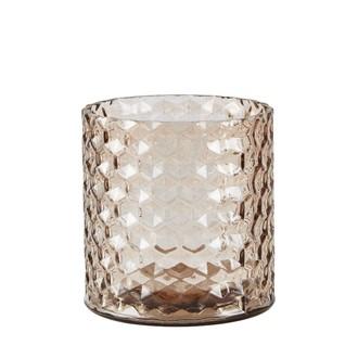 Vase en verre hexagone rosé ø11xh11cm