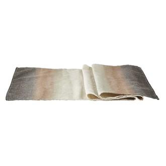 Chemin de table tie and dye en lin polyester gris 140x40cm