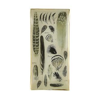 Coupelle en verre plumes gris et doré 10,2x21cm