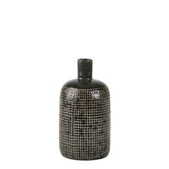 Vase bouteille vert/marron Rustic d10.5xh19.4cm