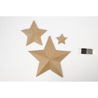 Lot de 3 étoiles origami en papier mâché 11x19x31cm