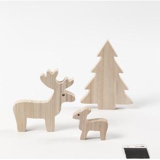 Lot 3 figurines cerf faon sapin bois 6-12-15cm