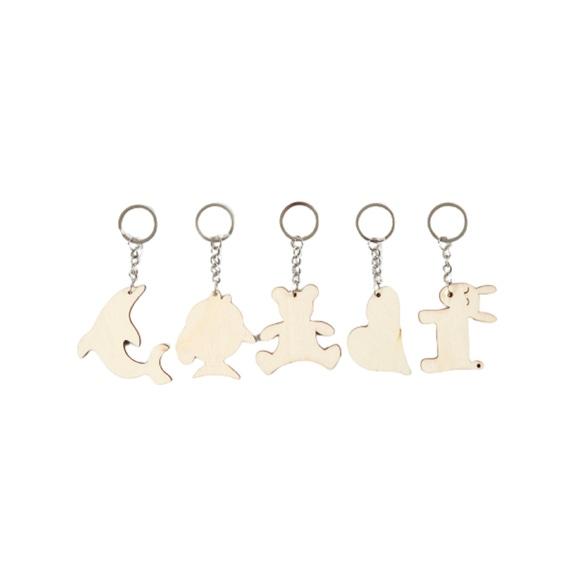 Achat en ligne 5 Porte-clés pendentif bois 5,5x5,5 cm