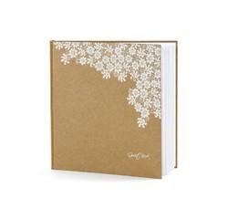 Achat en ligne Livre d'or kraft et fleurs blanches, 20,5x20,5 cm 22pages