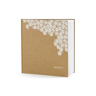 Livre d'or kraft et fleurs blanches, 20,5x20,5 cm 22pages
