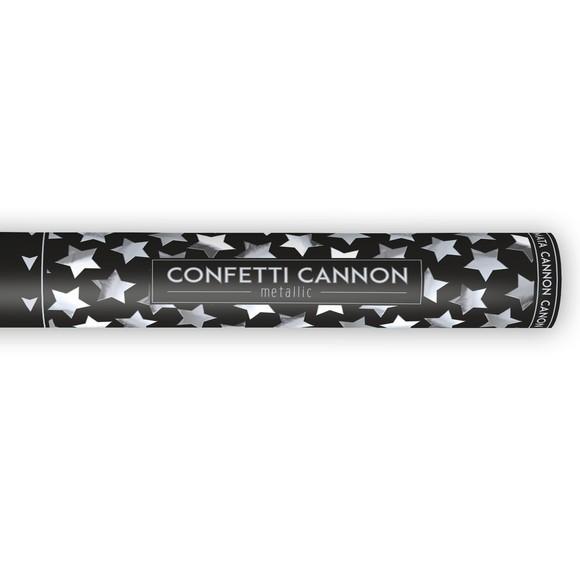 Canon à confettis étoiles argent métallic 40cm