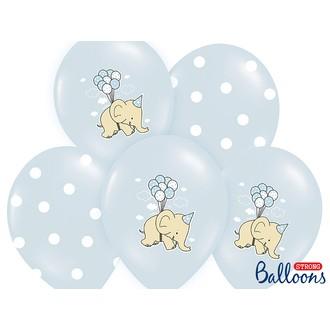6 Ballons Elephant bleu 30cm