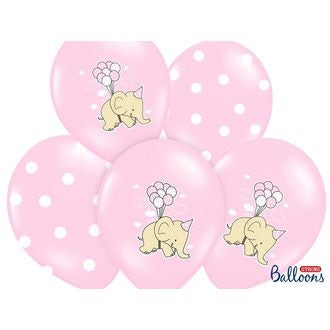 6 Ballons Elephant rose 30cm