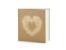 Achat en ligne Livre d'or kraft cœur or 20,5x20,5cm 22pages
