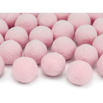 Lot de 20 mini boules pompons rose 2 cm