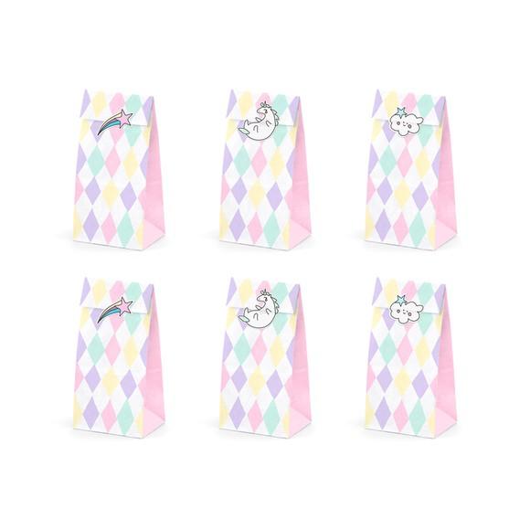 Sacchetti per caramelle unicorno con adesivi