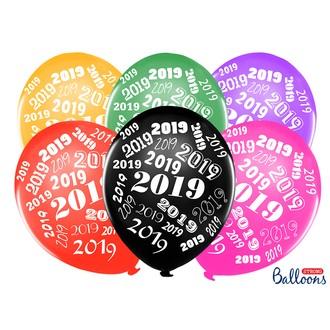 6 Ballons colorés métallisés année 2019